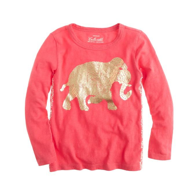 Girls' foil elephant T-shirt