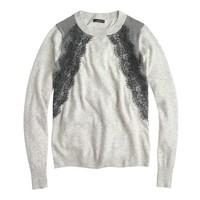 Colorblock lace panel sweater