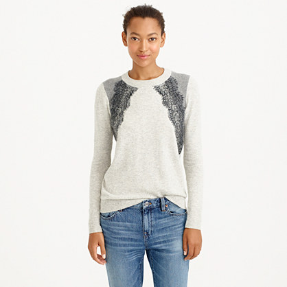 Colorblock lace panel sweater : Pullovers | J.Crew