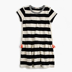 Girls' tassel T-shirt dress in stripe