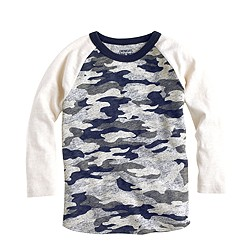 Boys' heavyweight baseball T-shirt in camo