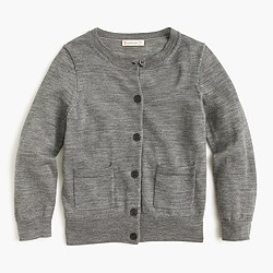 Girls' classic merino cardigan sweater