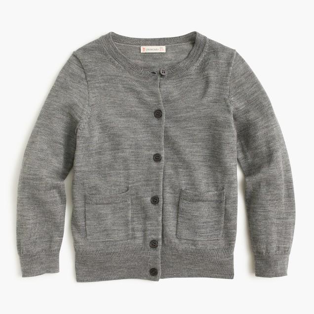 Girls' classic merino cardigan sweater