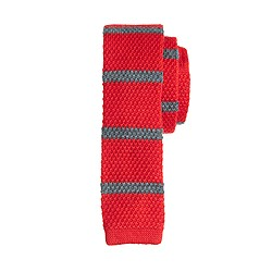 Boys' wool knit tie in electric red stripe