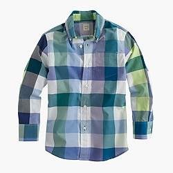 Boys' slim Secret Wash shirt in large gingham