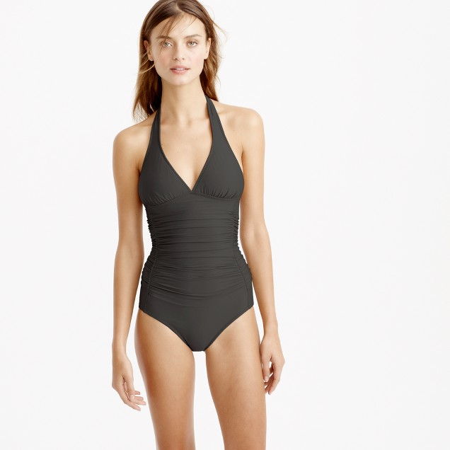 D-cup ruched halter one-piece swimsuit