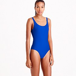 Long torso scoopback one-piece swimsuit