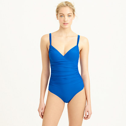 Ruched wrap one-piece swimsuit