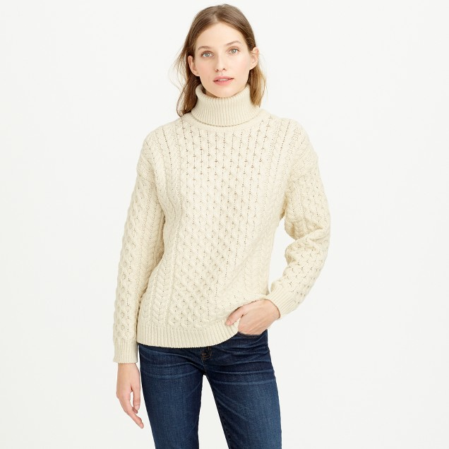 Aran Crafts  fisherman cable-knit turtleneck sweater : J.Crew