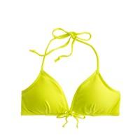 Italian matte tie-front grommet bikini top