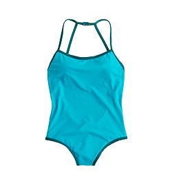 Italian matte tipped strappy racer one-piece swimsuit
