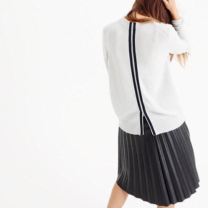 Italian cashmere back-zip tunic sweater