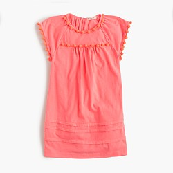 Girls' pom-pom T-shirt dress