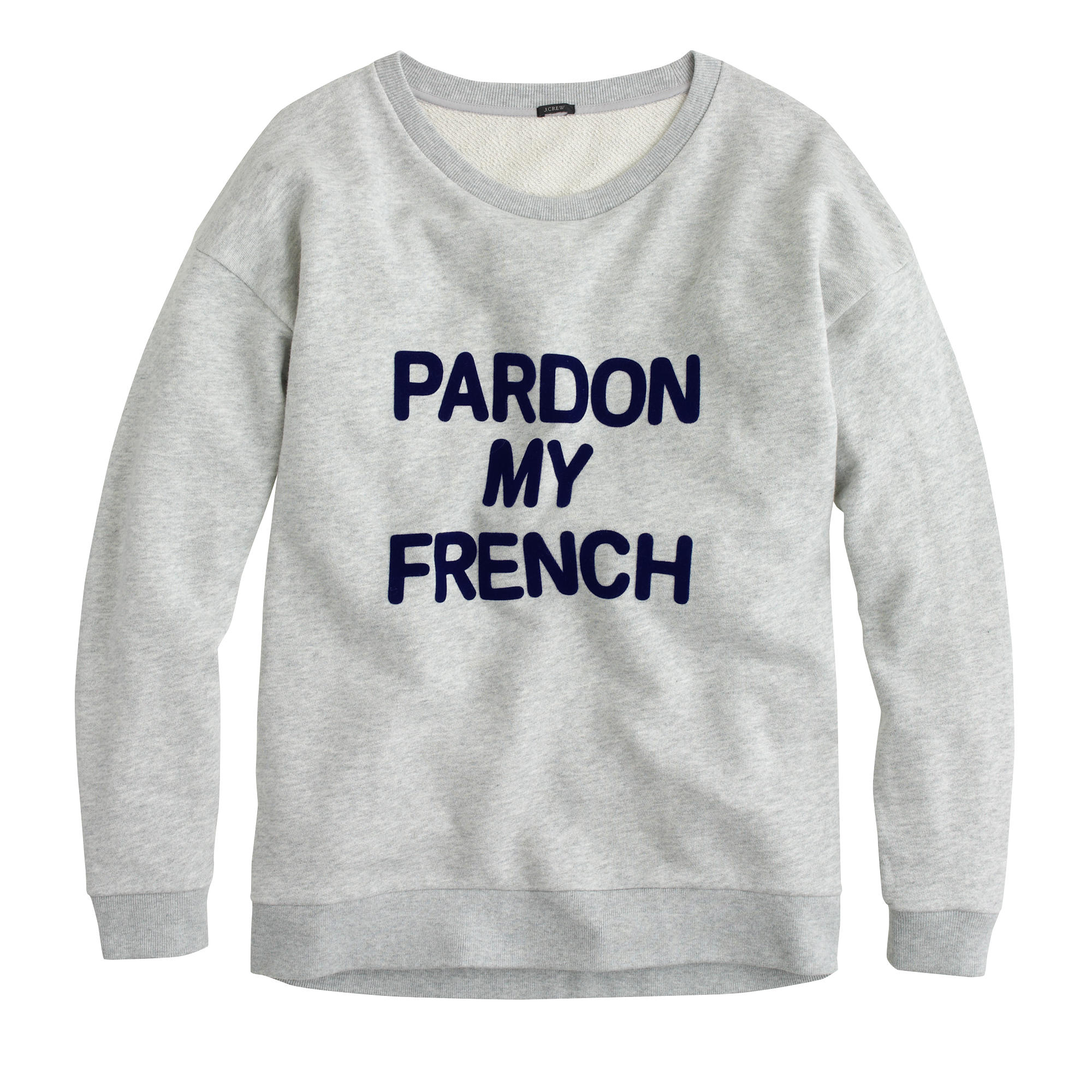 pardon my french sweatshirt j crew. Black Bedroom Furniture Sets. Home Design Ideas