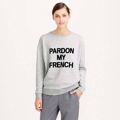 pardon my french sweatshirt sweatshirts j crew. Black Bedroom Furniture Sets. Home Design Ideas