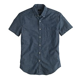 Chambray short-sleeve shirt in classic navy dot