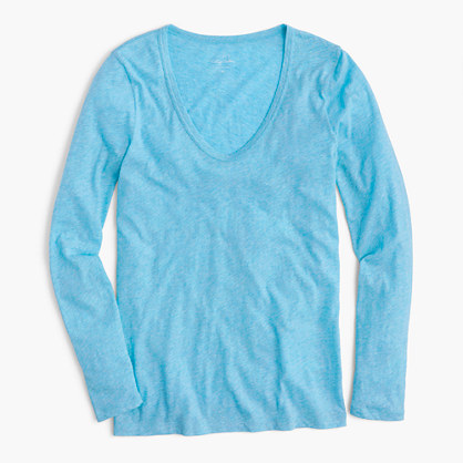 Vintage cotton long-sleeve scoopneck T-shirt