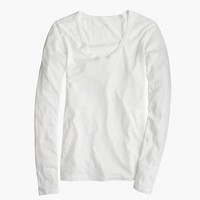 Petite vintage cotton long-sleeve scoopneck T-shirt