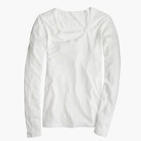 Petite vintage cotton long-sleeve scoopneck T-shirt
