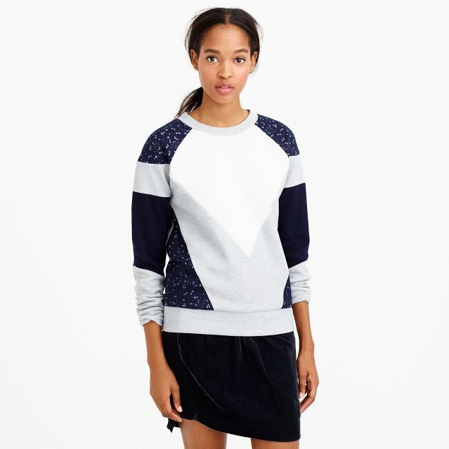 Paneled lace sweatshirt