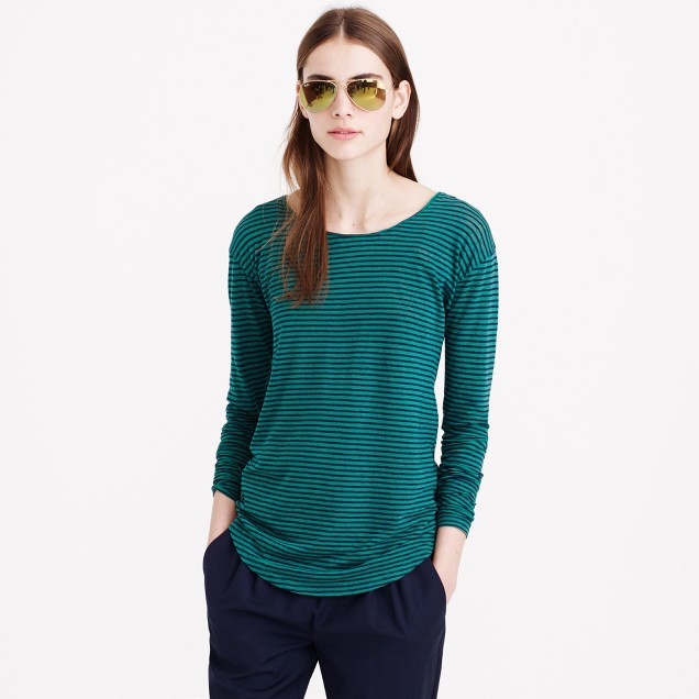 Long-sleeve linen-cotton T-shirt in stripe