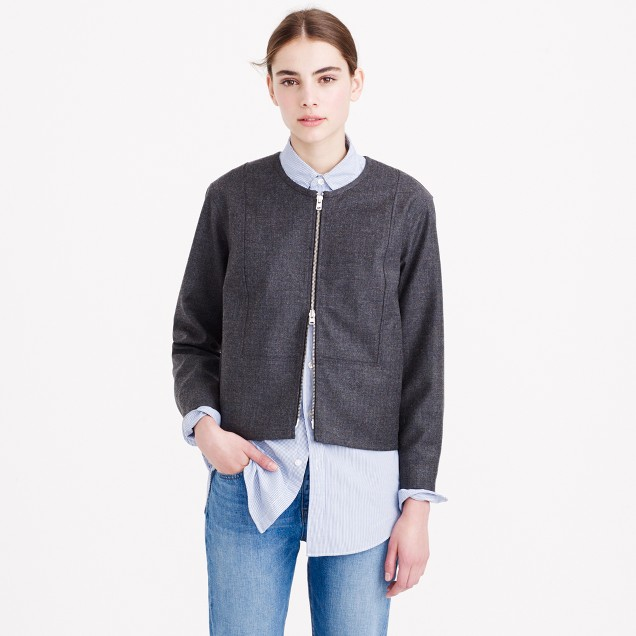 Collarless bib jacket