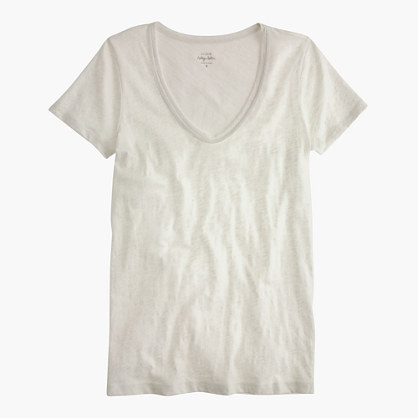 Vintage cotton scoopneck T-shirt in metallic