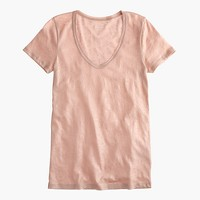 Vintage cotton scoopneck T-shirt in metallic