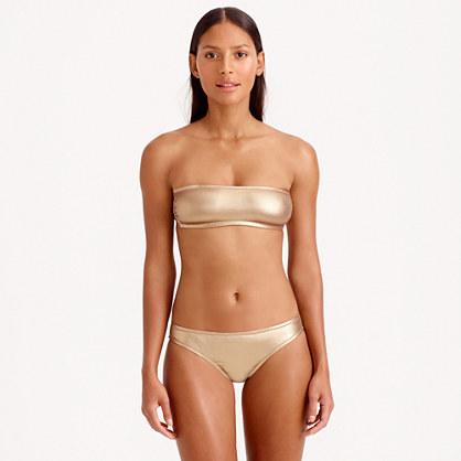 Metallic gold bandeau bikini top