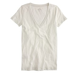 Vintage cotton V-neck T-shirt in metallic