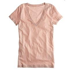 Vintage cotton V-neck T-shirt in metallic