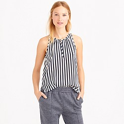 Stripe silk tank