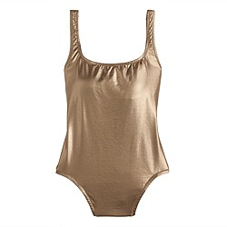 Long torso metallic gold scoopback one-piece swimsuit