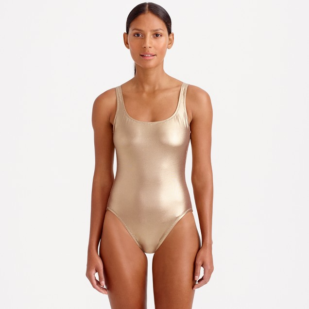 Metallic gold scoopback one-piece swimsuit