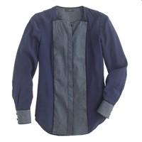 Paneled silk blouse