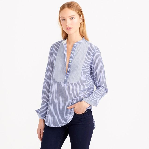 Bib popover shirt in crinkle stripe