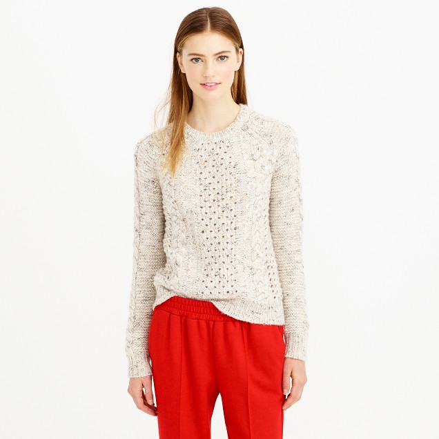 Mohair pointelle cable sweater