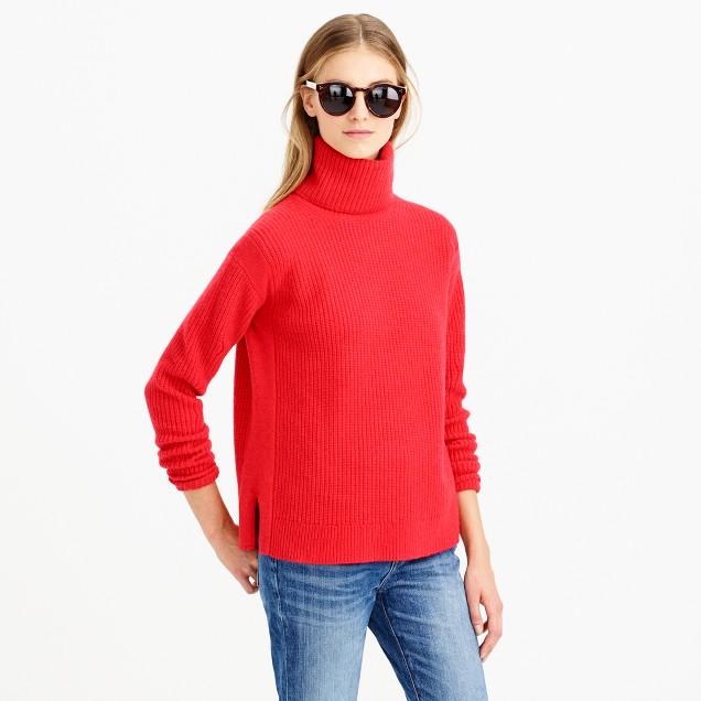 Rib-stitch turtleneck sweater