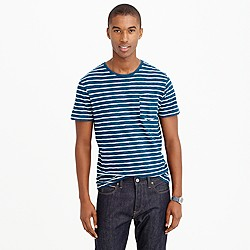 Wallace & Barnes indigo stripe pocket T-shirt