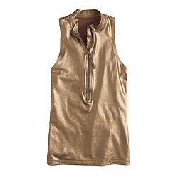 Metallic sleeveless zip rash guard