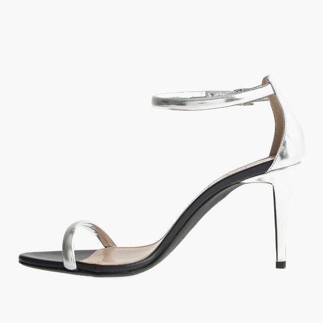 Mixed leather strappy high-heel sandals