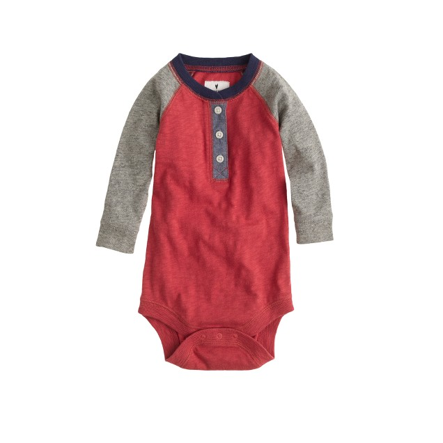 Baby long-sleeve one-piece in red raglan
