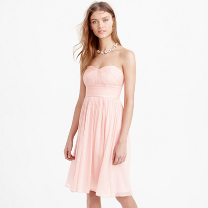 Petite Marbella strapless dress in silk chiffon