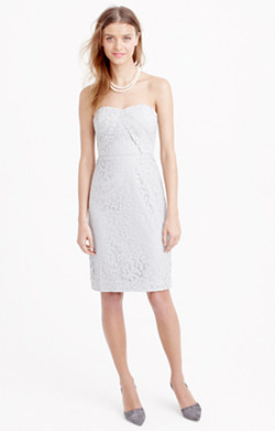 Kelsey strapless dress in Leavers lace