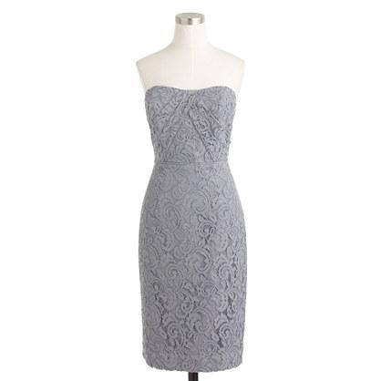 Petite Kelsey strapless dress in Leavers lace
