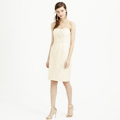Petite Kelsey strapless dress in Leavers lace
