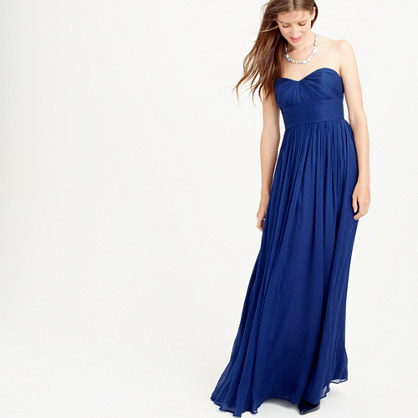 Petite Marbella long dress in silk chiffon