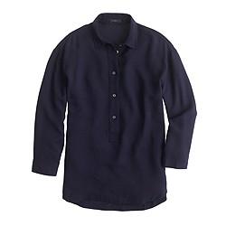 Petite drapey oxford crepe popover shirt