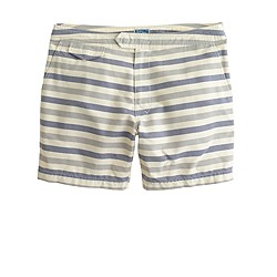 "6.5"" tab swim short in grey oxford stripe"