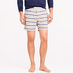 "6.5"" tab swim short in grey oxford stripe"